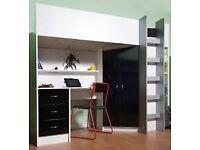 CABIN BED high sleeper wth desk/wardrobe