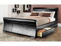 NEW: King size Black Faux Leather Sleigh Bed With 4 Drawers