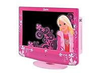 BARBIE PINK TV WITH REMOTE CONTROL. BOXED.