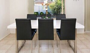 Oz design white table with black chairs Prestons Liverpool Area Preview