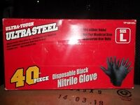 Ultra-Tough Ultra Steel 40 piece Disposable Black Nitrile Glove