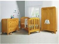 Mamas and Papas Nursery furniture - cot bed, wardrobe, chest of drawers with changing area