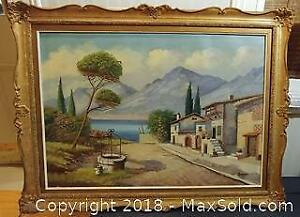 (623) Antique Oil Painting On Canvas 44 x 34