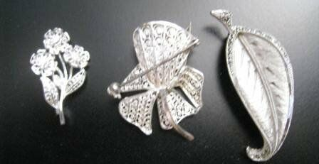 3 ANTIQUE STERLING SLIVER JEWELLERY
