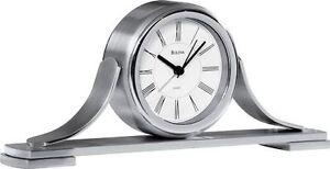 Bulova Silver/Brushed Chrome Mantle/Desk/Table Clock B2450