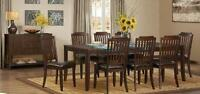 "MISSION dining set w/Server, table 96"" for 10, padded chairs"