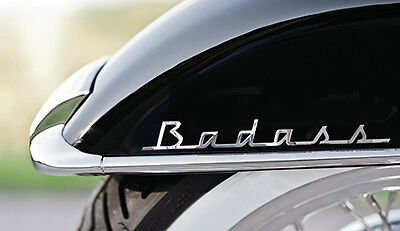 "x2 ""Badass"" CHROME look decal for fender & saddle bag fits Harley Davidson Bikes for sale  Gloucester City"