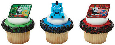24 Thomas the Train Cupcake Rings Birthday goody bag Fillers Favors Prizes Decor (Train Birthday)