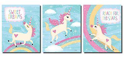 Inspirational Unicorns and Rainbows Set; Three 8x10