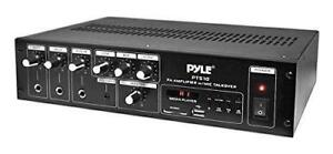 New Pyle-Home 240Ws Power Amplifier with 70V Output and Mic Talkover LED Display PT510