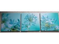 Set of 3 flower canvas prints