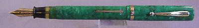 Sheaffer White Dot Flat Top Fountain Pen-jade green- working