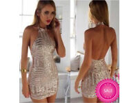 Beckys Boutique, gold glitter backless dress