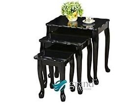 Oregon Wooden Nest of Tables 3 Black High Gloss