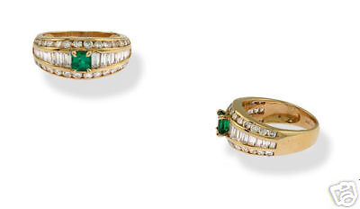 Estate 18k Yg Ladies Diamond Emerald Band