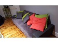 Modern Stylish Grey Fabric 2 Seater Sofa Bed Incl cushions