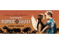 Secret Cinema, Romeo and Juliet, London 25 Aug: 2 tickets