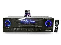 PyleHome PT4601AIU 500W Stereo Receiver AM-FM Tuner/USB/SD/iPod Docking Station