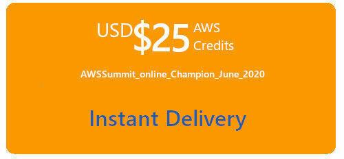 AWS 25 Code Amazon Web Services Promo Code Credit - AWS Summit Online - $9.99