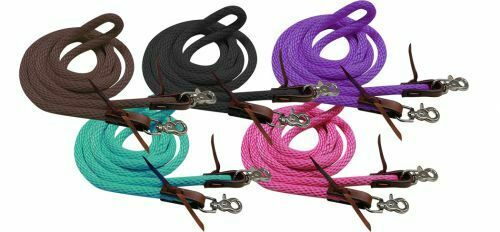 Showman 8/' Derby Nylon Barrel Reins w// Scissor Snap Ends