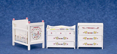 Dollhouse Furniture Town Square 3pc White Nursery Set with ABC Decals #05087