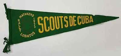 Rare Vintage Boy Scouts of Cuba Pennant Flag: Matanzas Lobatos Rally 1955