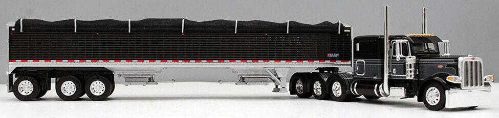 DCP 1/64 Black Gray 389 Peterbilt Tri-Axle Wilson Grain Trailer 60-0735