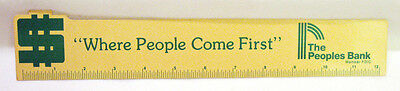 Vintage Plastic 12  Ruler Advertising Peoples Bank  Where People Come First