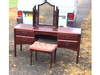 modern mahogany dressing table .mirror and stool