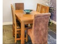Old Creamery Rustic Oak Dining Table and Chairs