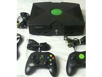 Original xbox with 40 games & controllers