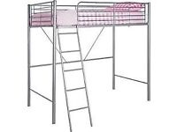 Metal High Sleeper Bed Frame-Silver