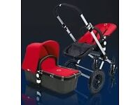 PRE- LOVED RED BUGGABOO BUFFALO PRAM AND COT