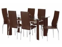 Modern Glass-Top Kitchen table with 6 chairs