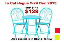 3 PIECE COLOURED SETTING (METAL FOLDING CHAIRS & TABLE) Ashmore Gold Coast City Preview