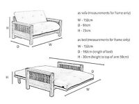 Futon company 2 seater oak double sofabed