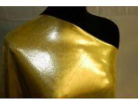 Stretch Metallic Dot Shine 4 way stretch Fabric in GOLD, ideal for costumes, dancewear, sports wear