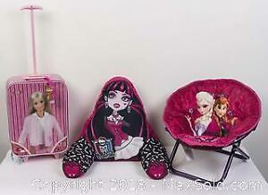 Barbie Rolling Suitcase, Monster High Pillow and Frozen Folding Chair.