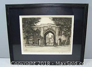 Clifton College England Framed Signed Antique Etching Edward W. Sharland - B