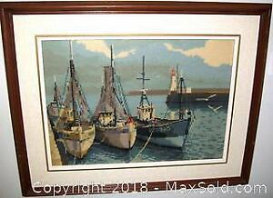 Picturesque Boats in Harbour Wood Framed Embroiled Art