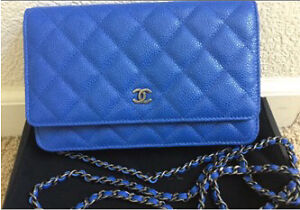 Chanel brand new classic quilted  caviar cabolat  blue woc