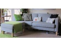 Ikea KARLSTAD 3-seater sofa and footstool