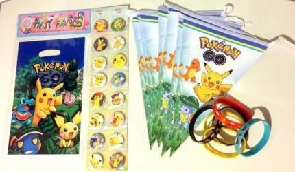 Pokemon Birthday Party Lolly Bags Bunting Flag Banner Pin Badge
