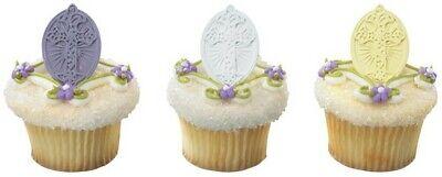 New Easter Cake Toppers Inspirational Cross Easter Egg Cupcake Rings One Dozen](Cross Cupcake Toppers)