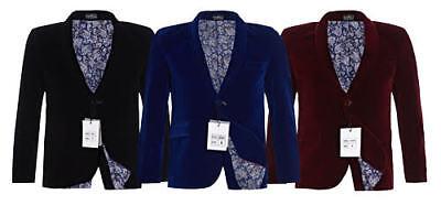 Boys Stunning Velvet Blazer Jacket Black/Navy/Burgundy 1-15 Years Paisley Lining](Boys Black Velvet Jacket)
