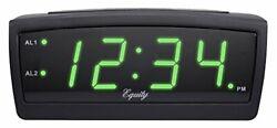 Equity by La Crosse 30229 LED Digital Alarm Clock, 0.9-Inch, Green