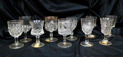 EAPG box lot 10 / all different wine goblets / stemware part large collection