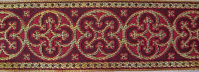 Jacquard, Chasuble, Church, Vestment Trim. Red & Gold