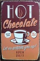 8 x 12 inch Hot Chocolate Diner Inspired Tin Wall Sign