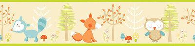 Bordüre Waldtiere Fuchs Eule Waschbär Tiere des Waldes Kinderzimmer selbstkleben